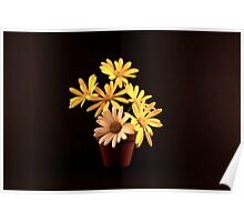 White and Yellow Daisies in a Red Pot Poster