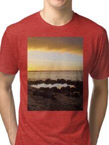 Portfolio: Sunset over Ke'ei beach and keiki pool. Tri-blend T-Shirt