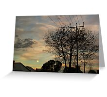 Suburban Moonrise with jets Greeting Card
