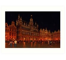 Grand Place at Night, Brussels, Belgium Art Print