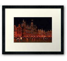 Grand Place at Night, Brussels, Belgium Framed Print