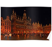 Grand Place at Night, Brussels, Belgium Poster