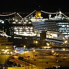 Night Cruise Ship Boat Palma Marina Harbour Mallorca Mediterranean by AlvinBurt