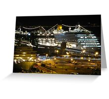 Night Cruise Ship Boat Palma Marina Harbour Mallorca Mediterranean Greeting Card