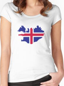 Iceland map flag Women's Fitted Scoop T-Shirt