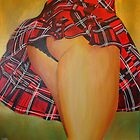 Young Girl Flirting Tease Me in Tartan by taiche