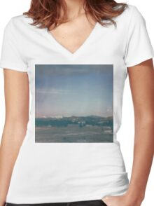Colorado Mountain Polaroid Sunrise Women's Fitted V-Neck T-Shirt