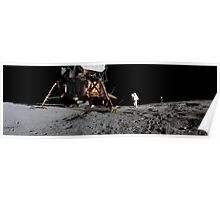 Apollo 17 : Panoramic Digital Painting of the Moon Landing Poster