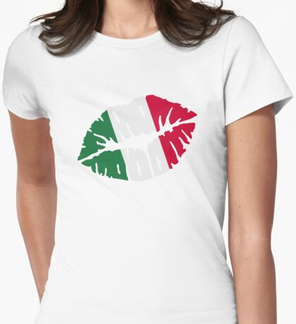 Italy kiss flag Womens Fitted T-Shirt