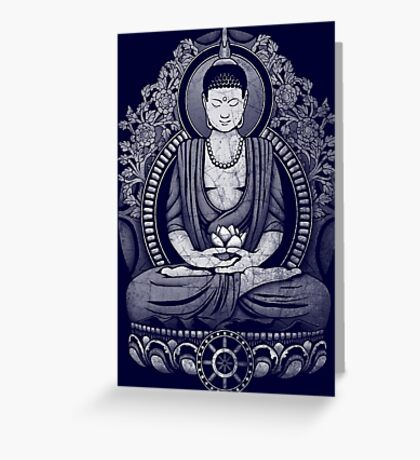Gautama Buddha White Halftone Distressed Greeting Card