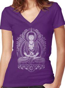 Gautama Buddha White Halftone Distressed Women's Fitted V-Neck T-Shirt