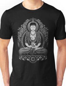 Gautama Buddha White Halftone Distressed Unisex T-Shirt