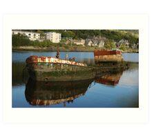 Derelict boat in Bowling Western Scotland Art Print