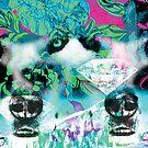Wolf Wilderness Diamond Floral Print by huliodoyle