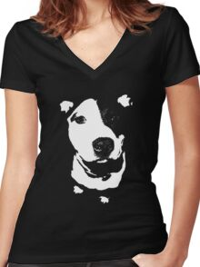 Louie - Black and white pit bull Women's Fitted V-Neck T-Shirt