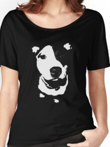 Louie - Black and white pit bull Women's Relaxed Fit T-Shirt
