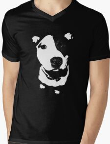Louie - Black and white pit bull Mens V-Neck T-Shirt