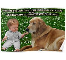 (✿◠‿◠) IN HIS HANDS.THE LOVE OF A DOG.. WITH (BIBLICAL SCRIPTURE) (✿◠‿◠) Poster