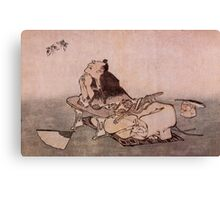 'A Philosopher Looking At Two Butterflies' by Katshushika Hokusai (Reproduction) Canvas Print