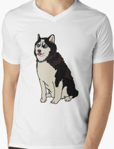 Staring Husky Mens V-Neck T-Shirt