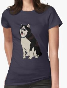 Staring Husky Womens Fitted T-Shirt