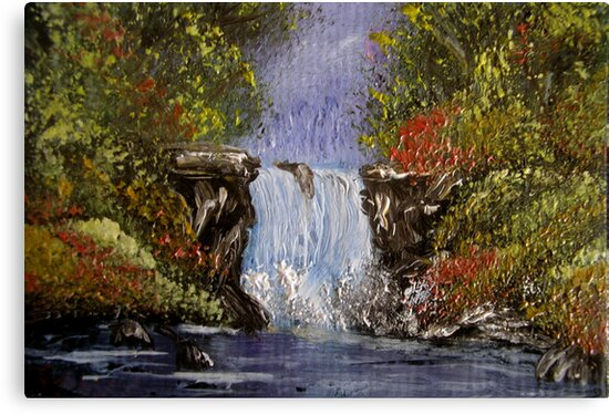 Miniature Waterfall - oil painting by Avril Brand
