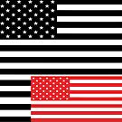 Black White Red American Flag Print by huliodoyle