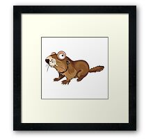 Groundhog Cartoon Character Framed Print