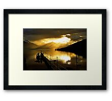 Lake Te Anau at sunset. South Island, New Zealand. (5) Framed Print