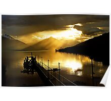 Lake Te Anau at sunset. South Island, New Zealand. (5) Poster