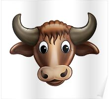 Happy Bull Cartoon Character Poster