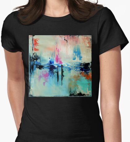 Blue Art Painting, Abstract Painting,Abstract print,  Wall Art, Wall Decor, Modern  Art, Office Art decor, Home Decor Womens Fitted T-Shirt
