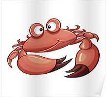 Happy Crab Cartoon Character Poster