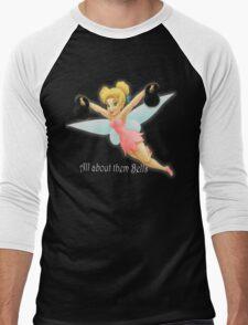 Tinkerbell Lifting Kettlebells Men's Baseball ¾ T-Shirt