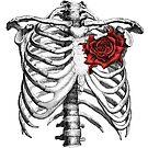 Skeleton Rose Heart by huliodoyle