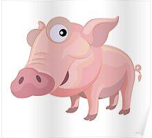 Happy Pig Cartoon Character Poster
