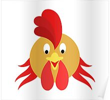 Happy Rooster Face 2 Cartoon Character Poster