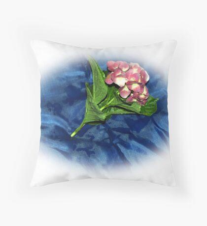 Blue on Plant Throw Pillow