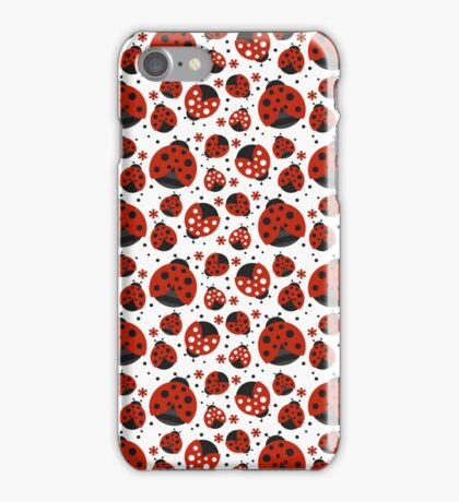 Ladybugs and Red Flowers iPhone Case/Skin