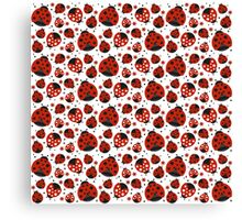 Ladybugs and Red Flowers Canvas Print