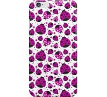 Pink Ladybugs and Pink Flowers iPhone Case/Skin