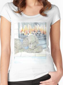 Rosie Dog by the Fire Women's Fitted Scoop T-Shirt