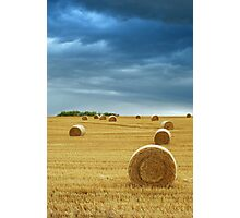 Hay Bales in Field with Stormy Sky Photographic Print