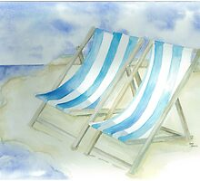 Blue stripey deckchairs on a summer beach by Annartist2015