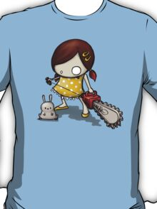 little Girl, rabbit and chain saw T-Shirt