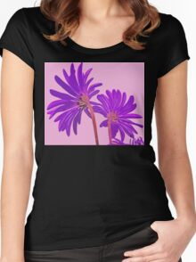 Wild Flowers in Abstract Colors Pink and Purple From Behind Women's Fitted Scoop T-Shirt