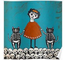 Frida and Cats Poster
