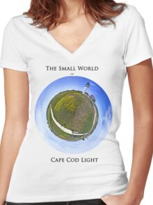The Small World of Cape Cod Light Women's Fitted V-Neck T-Shirt