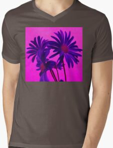 Super Color Floral Mens V-Neck T-Shirt