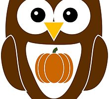 Brown Autumn Owl with Pumpkin by ChristianMugs